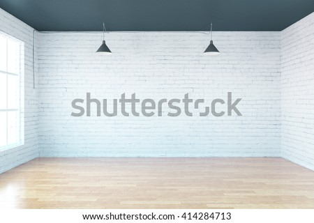 Empty loft room with white walls and wooden floor, mock up, 3D Rendering - stock photo