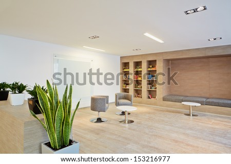 Empty lounge at business center - stock photo