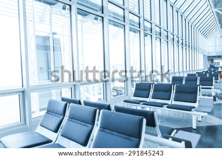 Empty lounge at the airport  - stock photo