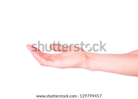 Empty male hand isolated on white. Asking for help or suggesting help concept. - stock photo