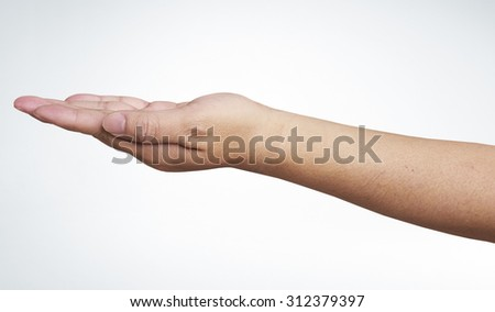 empty male woman hand holding isolated on white, with clipping path - stock photo