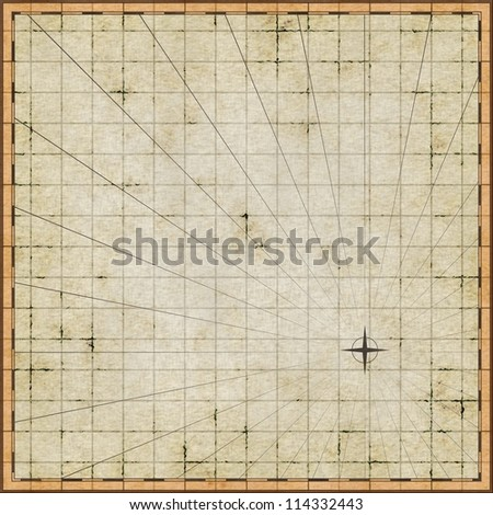 Empty map template on old paper - stock photo