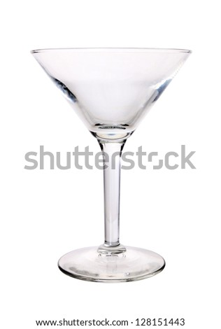 Empty martini glass isolated on the white background, clipping path included - stock photo