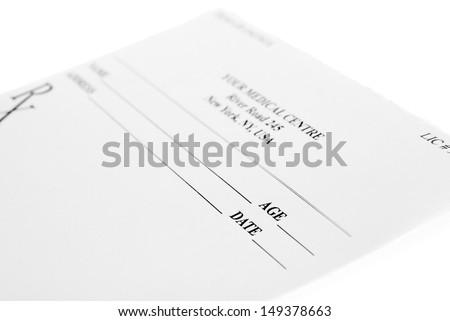 Empty medical prescription isolated on white background  - stock photo