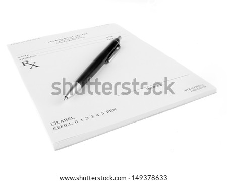 Empty medical prescription with a pen isolated on white background  - stock photo