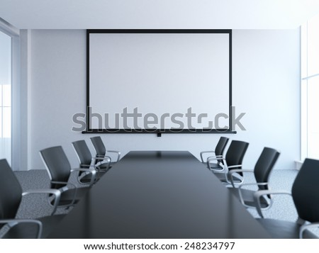 empty meeting room with white screen - stock photo