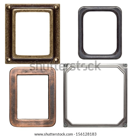 Empty metal frames, isolated on white - stock photo