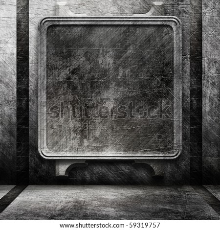 Empty metal interior with big screen or frame - stock photo