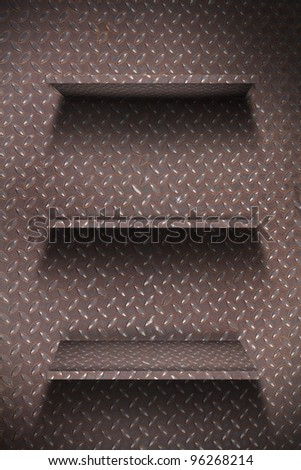 Empty metal plate shelf. grunge industrial interior Uneven diffuse lighting version. Design component - stock photo