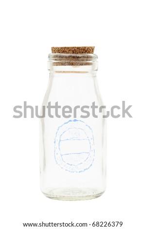 Empty milk bottle - stock photo