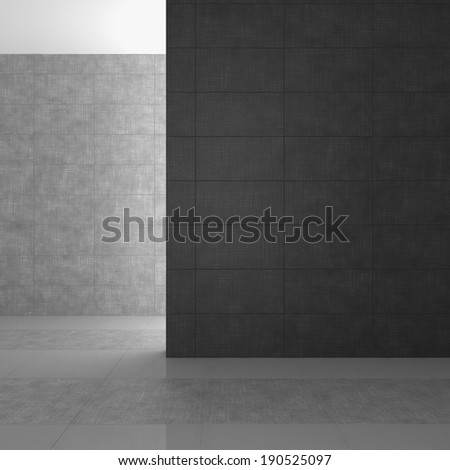 empty modern bathroom with gray tiles - stock photo