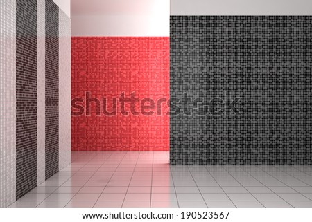 empty modern bathroom with mosaic tiles in black, white and red color - stock photo