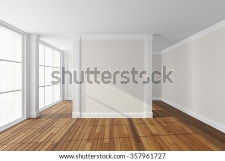 Empty modern hall with big window. 3d rendering. - stock photo