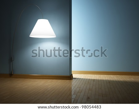Empty modern interior with lamp - stock photo