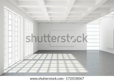 Empty modern loft with concrete floor and big Windows - stock photo
