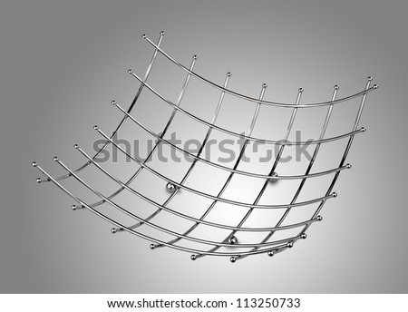 empty modern style fruit basket made of steel wire ( clipping path ) - stock photo