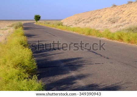 Empty motor road across savanna, lone tree and railroad embankment against blue sky background. - stock photo