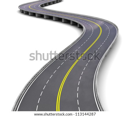 Empty motorway with turns over white background - stock photo