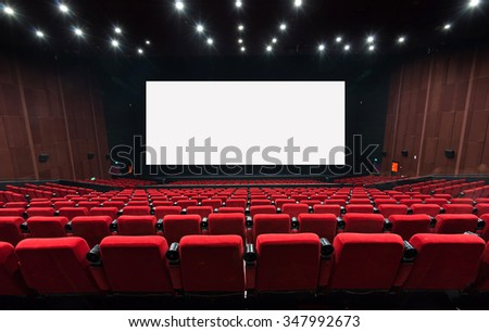 Empty movie theater with red seats - stock photo