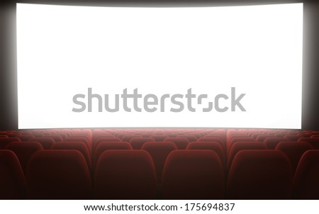 Empty movie theatre white screen - stock photo