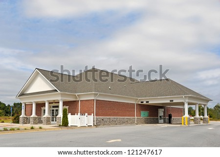 Empty New Bank Building for Sale after Closure - stock photo
