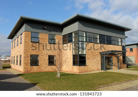 Empty new office building on business park, Scarborough, England. - stock photo
