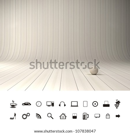 Empty new room with sunlight. Professional photo studio place. - stock photo