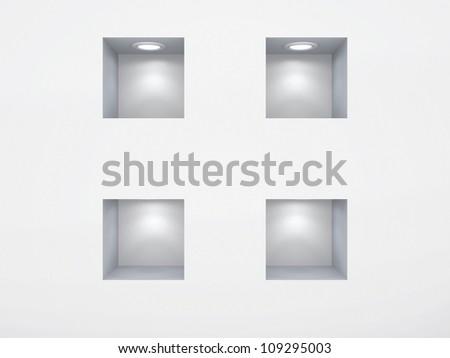 Empty niches.Isolated on white background.3d rendered. - stock photo