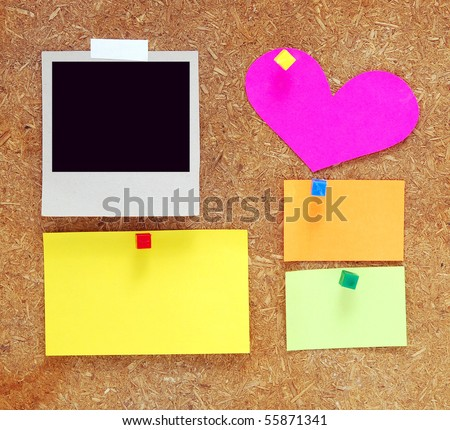 empty notes on old wooden background - stock photo