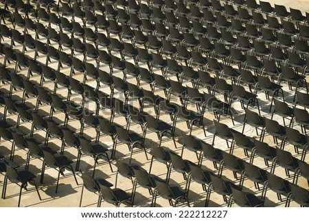 Empty numbered seats - stock photo