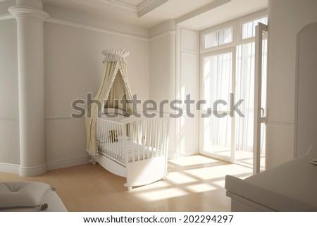 Empty nursery room with window and white crib - stock photo