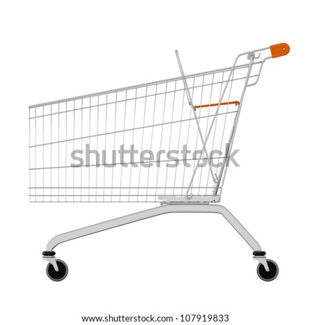 Empty of shopping cart isolated on white. render. Sideview - stock photo