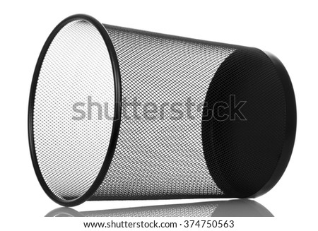 Empty office bin isolated on white background - stock photo