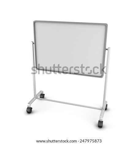 Empty office board isolated on white background. 3D render image. - stock photo