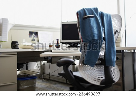 Empty Office Chair and Desk - stock photo