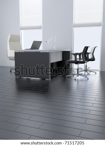 Empty office room with table and armchairs and light from windows - stock photo