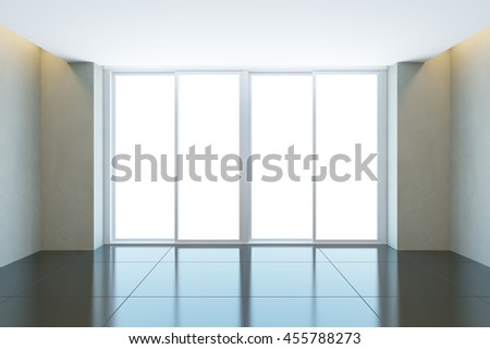 empty office room with window, 3d rendering - stock photo