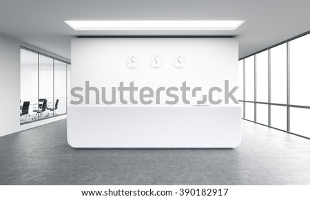 Empty office, white reception at white wall, three clocks on it. Panoramic window right, meeting room left. Concept of reception. 3D rendering - stock photo