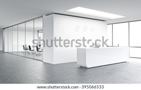 Empty office, white reception at white wall, three clocks on it. Panoramic window right, meeting room behind. Concept of reception. 3D rendering - stock photo