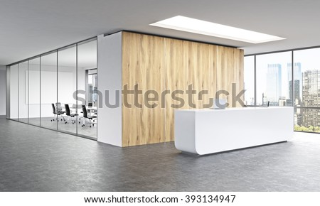 Empty office, white reception at wooden wall. Panoramic window right, meeting room behind. New York. Concept of reception. 3D rendering - stock photo