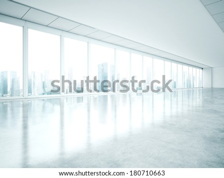 Empty office with large windows - stock photo