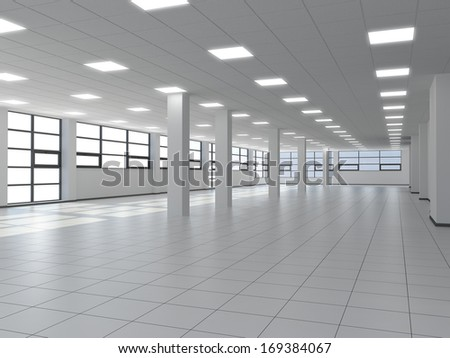Empty office with white columns and large windows - stock photo