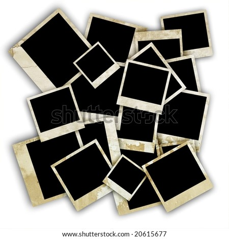 Empty old photo frames isolated.Clipping path included. - stock photo