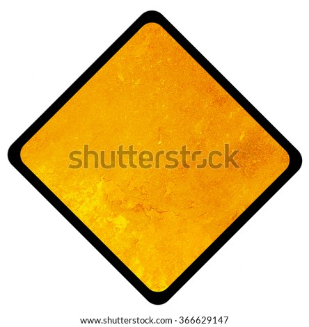 Empty old Yellow Sign - danger attention and alert sign - stock photo