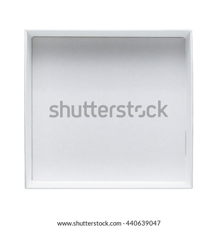 Empty open box isolated on white background top view - stock photo