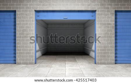 Empty open door self storage unit . 3d rendering - stock photo