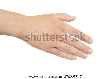Empty open man hand on white background - stock photo