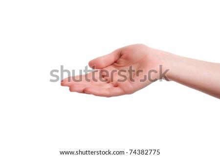 Empty open woman hand - stock photo