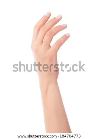 Empty open woman hand on white background - stock photo