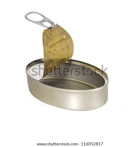 Empty opened tin. Isolated on a white. - stock photo
